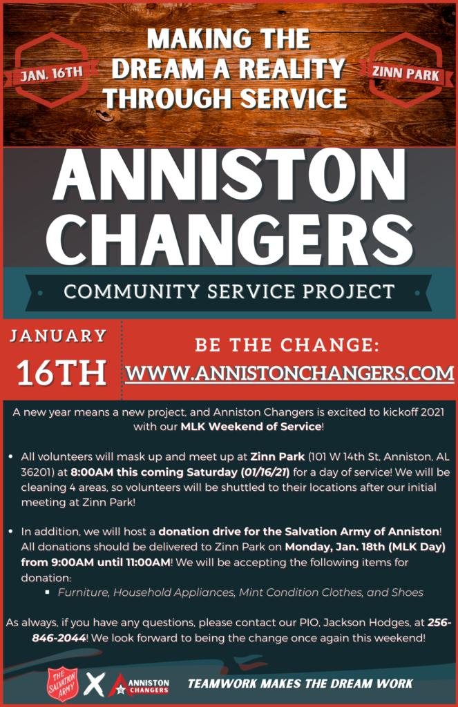 Anniston Changers Flyer_MLK Weekend of Service