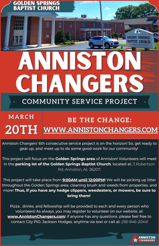 Anniston Changers Flyer |Golden Springs