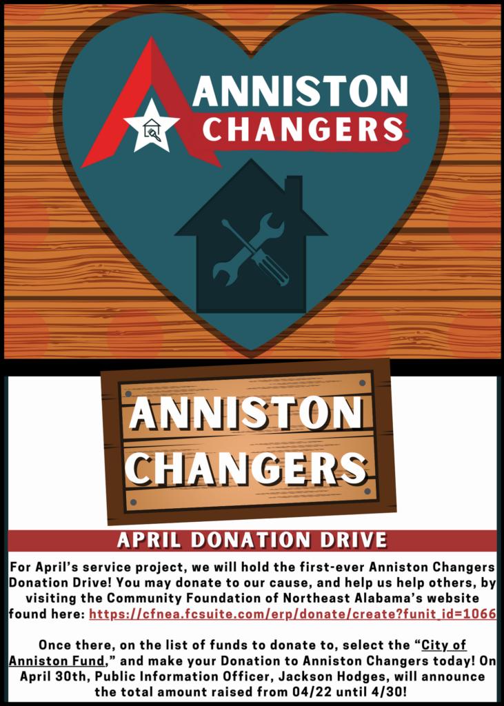 Anniston Changers   April Donation Drive
