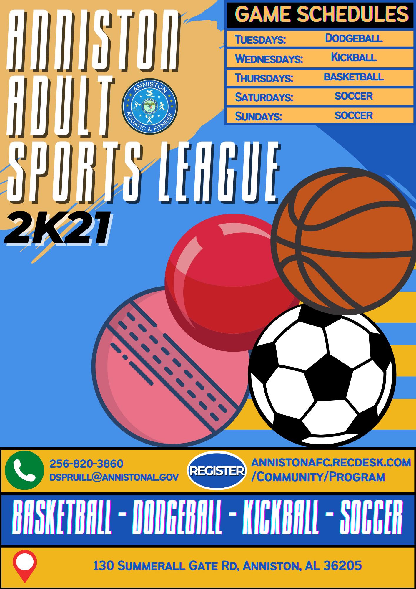 Anniston Adult Sports League - Flyer