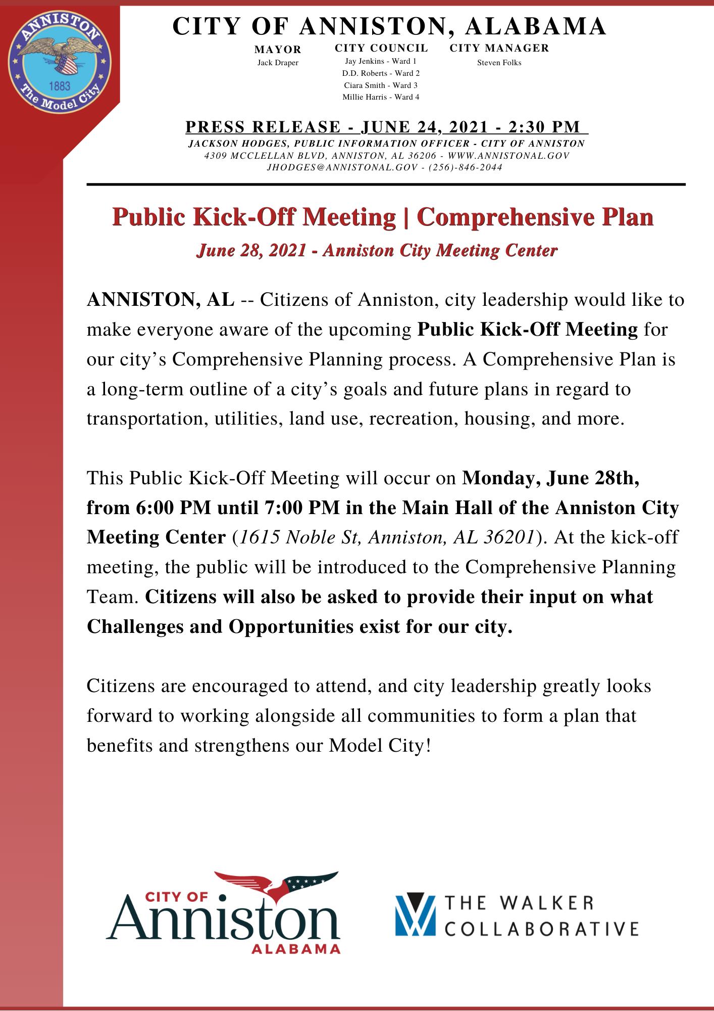 Press Release Comprehensive Plan Public Meeting 062821
